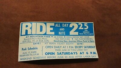 Mountain Park Amusement Holyoke, MA Ride Coupon Ad VINTAGE 1960s-70s
