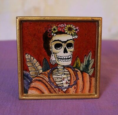 Frida Kahlo Day of the Dead églomisé Hand Painted on Glass framed Peru Folk Art