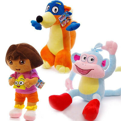 3pcs/set Dora The Explorer Swiper Fox Boots The Monkey Plush Toy Soft Doll Teddy