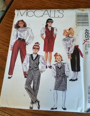 McCall's Pattern 4651 Girls' Vest-Blouse-Skirt-Pants #10 -Uncut