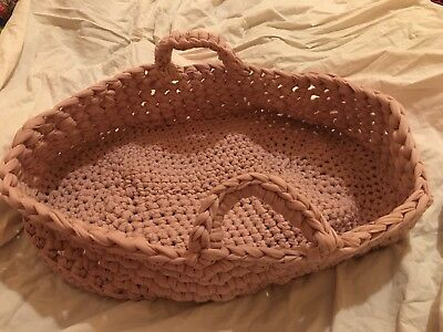 Crochet Moses Basket Bassinet Powder Pink