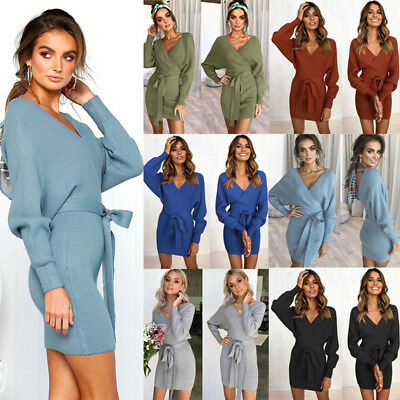 Womens Cross V-neck Sweater Dress Long Sleeve Tie Bodycon Pencil Knit Mini Dress