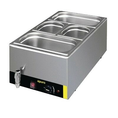 Apuro Bain Marie With Tap and Pans Stainless Steel Silver