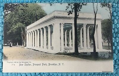 Vintage NY Postcard/BROOKLYN PROSPECT PARK NEW SHELTERPre1907 Unposted Rotograph