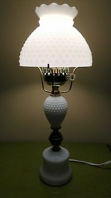 White Hobnail Milk Glass Lamp with Wood Accent