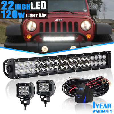 22INCH 120W Led Light Bar Flood Spot For Jeep Ford Truck ATV UTE F-250 F-350