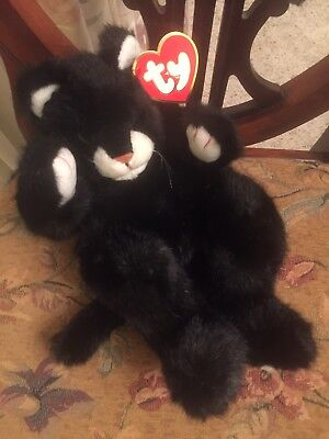Vintage New Ty Frisky #1007.Black & White Plush Cat By Sally Winey.1996,ret'97!