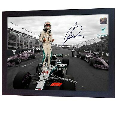 NEW World Champion Lewis Hamilton 2018 Formula 1 signed autograph print Framed