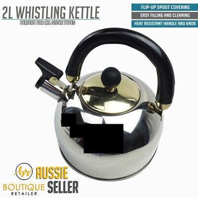 2.0L WHISTLING KETTLE Stainless Steel Camping Tea Kitchen Stove Top Camping