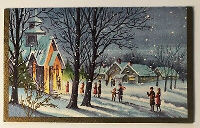 Vintage Christmas Card Town Christmas Rich House People Child Snow Tree Gold