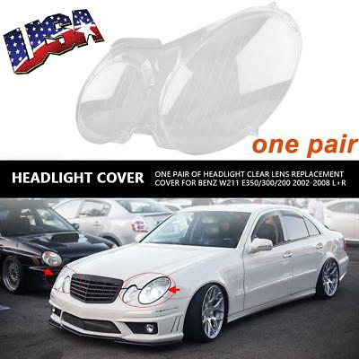 Headlight Clear Lens Headlamp Cover Plastic for Benz W211 E350/300/200 2002-2008