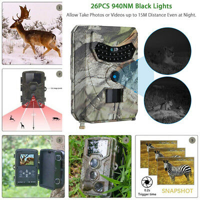 12MP 1080P Hunting Camera HD Video Photo Trap Night Vision Trail Cam Waterproof