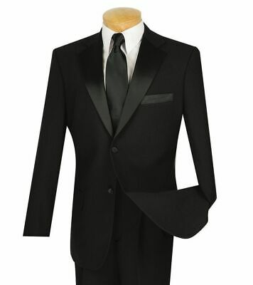LUCCI Men's Black Classic Fit Formal Tuxedo Suit w/ Sateen Lapel & Trim NEW