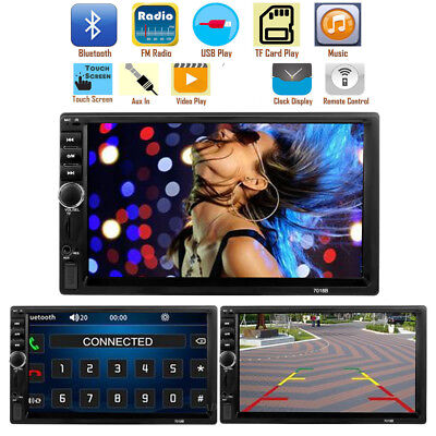 "7"" Double 2 Din Car Stereo Radio FM/MP5 Player Bluetooth HD 1080P Touch Screen"