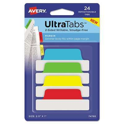 Avery® Ultra Tabs Repositionable Tabs, 2.5 x 1, Primary:Green, Re 072782747688
