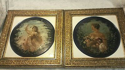 Pair of Large French Framed Tiles of Women Hand Painted.
