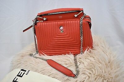 AUTHENTIC Fendi Dotcom Small Poppy Leather Quilted Shoulder Bag dc395f05f67bb