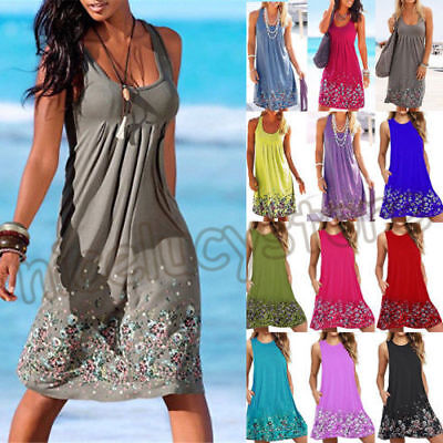 AU Plus Size Womens Boho Floral Sleeveless Summer Holiday Beach Party Midi Dress