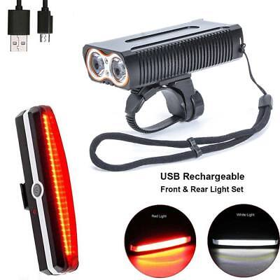 LED USB Rechargeable Bike Bicycle Front Headlight Tail Rear Back Light Lamp Set
