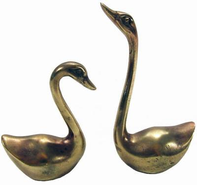 Brass Swan Statue Set of 2 Mid Century 9.5 / 6.8 cm