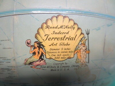 "Pre WWII 9"" Rand Mcnally Indexed Terrestrial Art Globe"