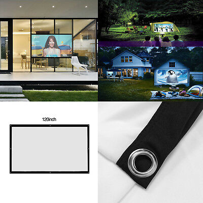 "HD Projector Screen Curtain 100"" Foldable Outside Movie Projection Display 16:9"
