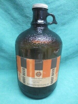 Vintage 1960's A&W AMBER Brown One GALLON Root Beer JUG
