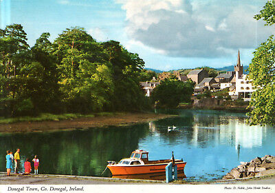 Ireland - Donegal  -  River Eske and the town with Church of Ireland  -  1980