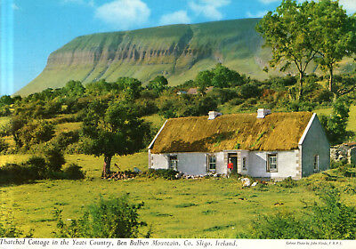 Ireland - Yeats Country  -  Thatched Cottage and Ben Bulben Mountain  -  1980