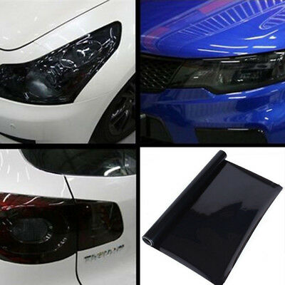 "12""X 23 Tint Headlight Car Taillight Fog Light Vinyl Smoke Film Sheet Dark Black"