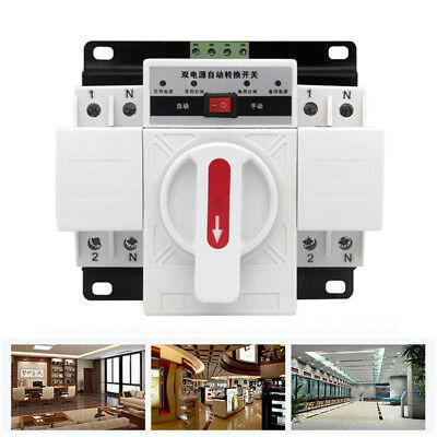 1PC 63A 2P 50HZ/60HZ Dual Power Automatic Transfer Switch 150×137×118mm+Manual
