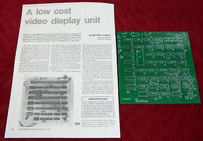 Electronics Australia Feb 1978 Low Cost VDU PCB and instructions only!