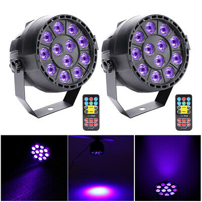 2PCS 36W 12LED UV Stage Black Light Par Lighting DMX Wall Washer Lamp DJ Disco
