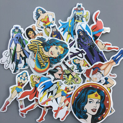 20Pcs Wonder Woman Stickers Superhero Superwoman Vinyl Decals Sticker Bomb Pack