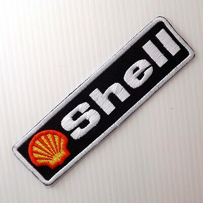 "4.1/2""x1p. shell oils auto lube fuel racing motor embroidered iron on sew patch"