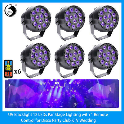 6PCS 36W 12LED Stage Lighting Par UV Black Wall Washer Lamp DMX Disco DJ Wedding