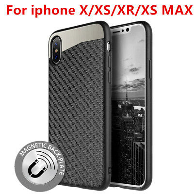 For iPhone X/XS/XR/XS MAX Magnetic Back Plate Carbon Fiber Rubber Case Cover