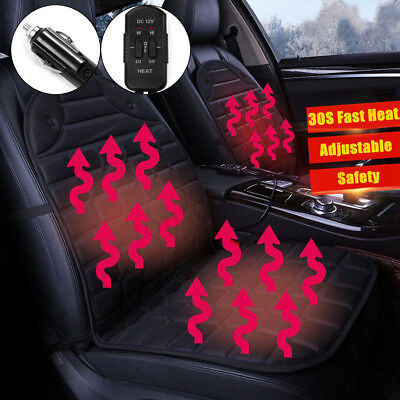 2x 12V Car Auto Seat Pad Heated Cushion Cover Heating Thermal Checkered Heater