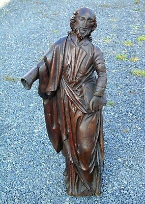 17th Century Carved Oak Religious Figure Folk Art