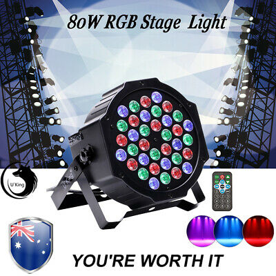 U`king 80W RGB 36LED Par Stage Lighting DMX Color Mixing Show Wedding DJ Party