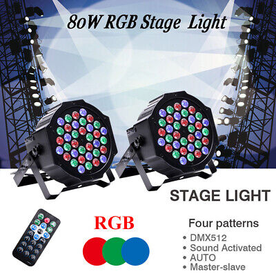 U`king 2PCS 80W 36 LEDs Par Stage Light RGB DMX Remote Uplight Bar Wedding Party