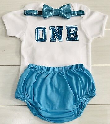 Kids Baby Boys First 1st Birthday Outfit Cake Smash Set Shorts Top Bow Tie Blue