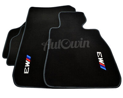 BMW Floor Mats E90 M3 Black Tailored Carpets With Grey Rounds & Clips NEW RHD UK