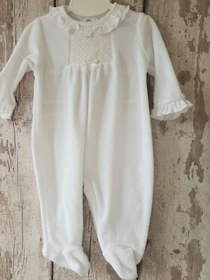 Spanish Style Baby White Velour Babygrow / All In One / Sleepsuit / Romper.