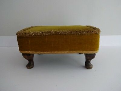 Pleasing Vintage Sherborne Foot Stool Seat Gold Fabric Cover Wooden Machost Co Dining Chair Design Ideas Machostcouk