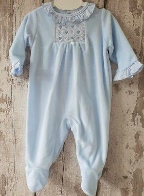 Spanish Style Baby Boy Blue Velour Babygrow / All In One / Sleepsuit / Romper.