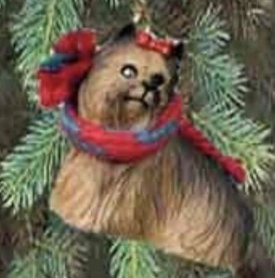 Yorkie Dog With Bow Tiny Ones Miniature Christmas Holiday ORNAMENT New