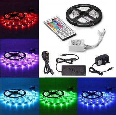 1M 2M 3M 4M 5M 5050 RGB LED SMD Strip Kit Waterproof 12V Adapter Remote Control