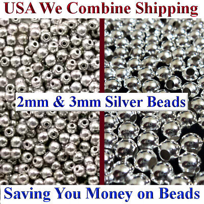 2mm 3mm Silver Plated Metal Round Smooth Spacer Beads 100pcs or 200pcs LOW PRICE