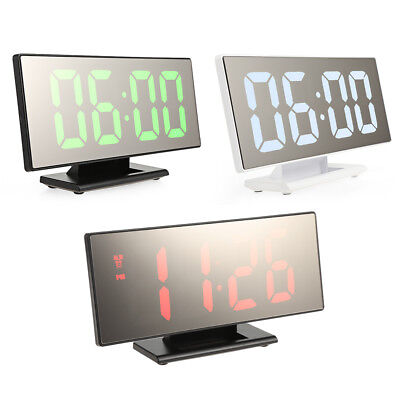 Portable Digital Mirror Alarm Clock With Large LED Display USB Port For Bedroom